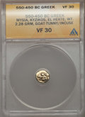 Ancients:Greek, Ancients: MYSIA. Cyzicus. Ca. 550-500 BC. EL 1/6th stater or hecte(2.28 gm). ANACS VF 30....