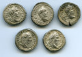 Ancients:Ancient Lots , Ancients: GROUP LOTS. Roman Imperial. Lot of five (5) Geta (AD198-211) AR denarii. Choice VF-XF.... (Total: 5 coins)