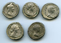 Ancients:Ancient Lots , Ancients: GROUP LOTS. Roman Imperial. Lot of five (5) Romanempresses AR denarii. Choice Fine-XF.... (Total: 5 coins)