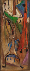 Paintings, Angel Botello (1913-1986). Dancers, circa 1960. Oil and mixed media on board. 36 x 15-1/2 inches (91.4 x 39.4 cm). Signe...