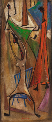 Angel Botello (1913-1986) Dancers, circa 1960 Oil and mixed media on board 36 x 15-1/2 inches (91
