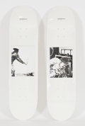 Post-War & Contemporary:Contemporary, Raymond Pettibon (b. 1957). Bang and Blood (twoworks), 2014. Screenprints on skate decks. 31-1/2 x 8 inches (80.0x... (Total: 3 Items)