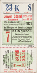Baseball Collectibles:Tickets, 1921 World Series Game Seven Ticket Stub - First New York YankeesFall Classic Appearance. ...