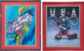 Olympic Collectibles:Autographs, 1972 Winter Olympics United States Hockey Lithographs Lot of 2 fromThe Henry Boucha Collection....