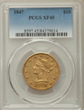 Liberty Eagles: , 1847 $10 XF45 PCGS. PCGS Population: (195/289). NGC Census: (217/924). Bid for problem-free NGC/PCGS XF45. Mintage 862,258....