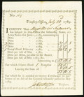 Colonial Notes:Connecticut, Connecticut Treasury Office Transfer Certificate £52.18.5 July 22,1789 Anderson CT-27 About New.. ...