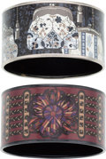 """Luxury Accessories:Accessories, Hermes Set of Two; 62mm Black & White Extra Wide Printed Enamel Bracelets. Condition: 2. 1.5"""" Width x 7.5"""" Length. ... (Total: 2 Items)"""