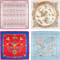 """Luxury Accessories:Accessories, Hermes Set of Four; 90cm Red, Pink & Blue Silk Scarves.Condition: 2. 36"""" Width x 36"""" Length. 36"""" Width x36"""" Leng... (Total: 4 Items)"""