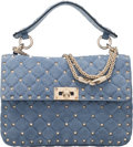 "Luxury Accessories:Bags, Valentino Blue Rockstud Spike Small Chain Bag. Condition: 3.9"" Width x 6.5"" Height x 2.5"" Width. ..."