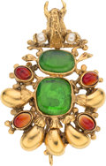 """Luxury Accessories:Accessories, Chanel Green & Red Gripoix Glass & Glass Pearl Bull Brooch. Condition: 2. 2"""" Width x 3"""" Length. ..."""