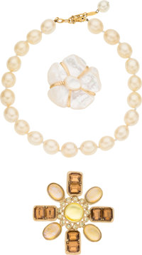 "Chanel Set of Three; White Glass Pearl, Pearlescent Glass, & Crystal Jewelry Condition: 3 3"" Widt"