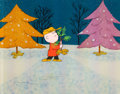 Animation Art:Production Cel, A Charlie Brown Christmas Charlie Brown and Christmas TreeProduction Cel (Bill Melendez, 1965). ...