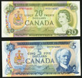 Canadian Currency: , BC-48b $5 1972;. BC-50b $20 1969. ... (Total: 2 notes)