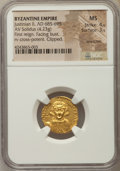 Ancients:Byzantine, Ancients: Justinian II, first reign (AD 685-695). AV solidus (4.23gm). NGC MS 4/5 - 3/5, scratches, clipped....