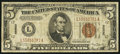 Small Size:World War II Emergency Notes, Fr. 2302 $5 1934A Hawaii Federal Reserve Note. Fine-Very Fine.. ...