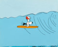 Animation Art:Production Cel, Charlie Brown's All Stars! Surfing Snoopy Production CelSetup with Key Master Background (Bill Melendez, 1966). ...