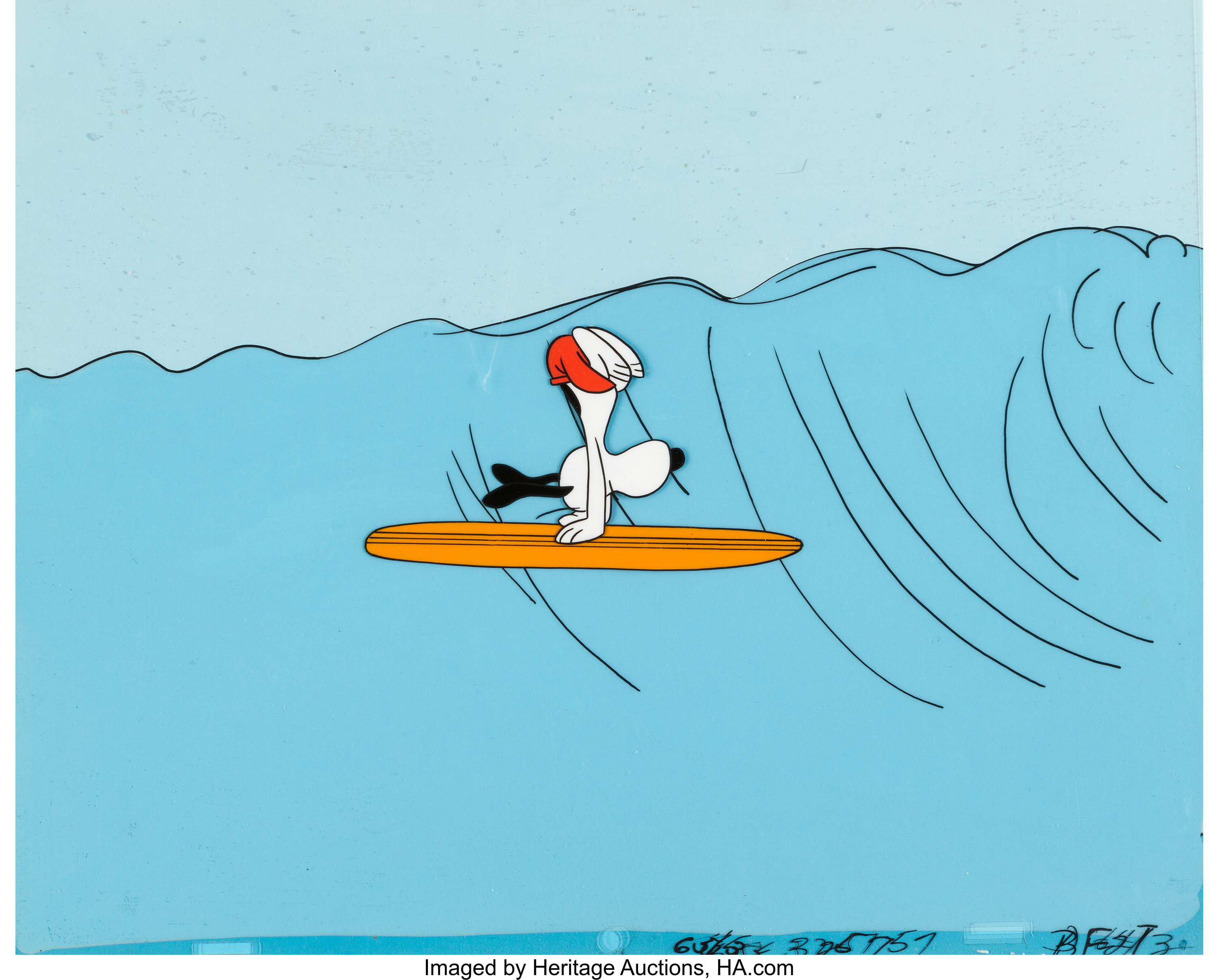 11 Charlie Brown's All Stars Surfing Snoopy Production Cel Setup ...