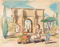 "Animation Art:Concept Art, Bible Storyland ""Arch of Constantine"" ConceptHand-Embellished Print (1959). ..."