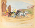 "Animation Art:Concept Art, Bible Storyland ""Mechanical Chariot Races"" Concept Hand-Embellished Print (1959). ..."