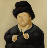 Fernando Botero (b. 1932) Un Abogado, 1967 Oil on canvas 35-1/2 x 34-1/4 inches (90.2 x 87.0 cm)<