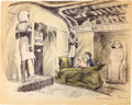 "Animation Art:Concept Art, Bible Storyland ""Adventures in Tut's Tomb Ride"" ConceptHand-Embellished Print (1959). ..."