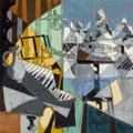 Claude Venard (1913-1999) Le repas du pianiste Oil on canvas 39-1/2 x 39-1/2 inches (100.3 x 100
