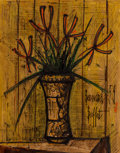 Works on Paper, Bernard Buffet (1928-1999). Fleurs, 1959. Mixed media on paper laid on canvas and pasted on a second canvas. 25-1/2 x 19...