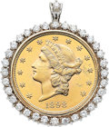 Estate Jewelry:Pendants and Lockets, $20 US Gold Coin, Diamond, Gold Pendant. ...