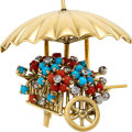 Estate Jewelry:Brooches - Pins, Coral, Turquoise, Diamond, Platinum, Gold Brooch, French. ...