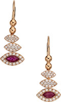 Estate Jewelry:Earrings, Ruby, Diamond, Rose Gold Earrings. ...