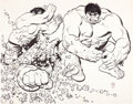 Animation Art:Concept Art, The Hulk Underoos Illustration by Alex Toth (Marvel/Fruit of theLoom, c. 1977-81). ...