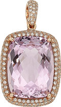 Estate Jewelry:Pendants and Lockets, Kunzite, Diamond, Rose Gold Pendant. ...