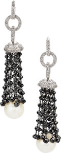 Estate Jewelry:Earrings, South Sea Cultured Pearl, Black Diamond, Diamond, White GoldEarrings. ...