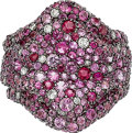 Estate Jewelry:Rings, Pink Sapphire, Ruby, Diamond, White Gold Ring. ...
