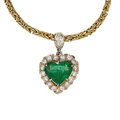 Estate Jewelry:Pendants and Lockets, Diamond, Emerald, Gold Pendant-Necklace. ...