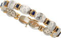 Estate Jewelry:Bracelets, Diamond, Sapphire, Platinum, Gold Bracelet . ...