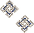 Estate Jewelry:Earrings, Diamond, Sapphire, White Gold Earrings. ...