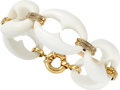 Estate Jewelry:Bracelets, White Agate, Diamond, Gold Bracelet. ...