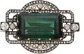 Estate Jewelry:Brooches - Pins, Edwardian Green Tourmaline, Diamond, Silver-Topped Gold Brooch. ...