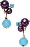 Estate Jewelry:Earrings, Diamond, Amethyst, Turquoise, Gold Earrings. ...