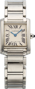 Estate Jewelry:Watches, Cartier Lady's Stainless Steel Tank Francaise Watch. ...