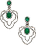 Estate Jewelry:Earrings, Emerald, Diamond, Gold Earrings. ...