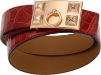 Hermes 75cm Shiny Rouge H Porosus Crocodile H Belt with Rose Gold Hardware R Square, 2014 Conditi