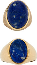 Estate Jewelry:Rings, Gentleman's Lapis Lazuli, Gold Rings. ... (Total: 2 Items)