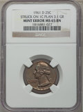 Errors, 1961-D 25C Washington Quarter -- Struck On 1C Planchet -- 3.12 GRMS65 BN NGC....