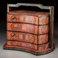 Asian:Chinese, A Chinese Lacquered Three-Tier Stacking Box. 12-1/2 h x 13 w x10-1/2 d inches (31.8 x 33.0 x 26.7 cm). ...