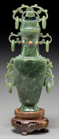 Asian:Chinese, A Chinese Carved Spinach Jade Urn with Inlaid Coral and Silver.6-3/4 inches high (17.1 cm) (without stand). ...