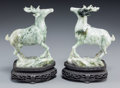 Asian:Chinese, A Pair of Chinese Jade Figures of Deer on Stand. 4-7/8 inches high(12.4 cm) (deer, excluding stands). ... (Total: 4 Items)