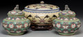 Asian:Chinese, A Pair of Chinese Cloisonne Covered Jars with Additional CoveredJar on Stand. 7-1/4 inches high (18.4 cm) (pair). 5-3/4 inc...(Total: 3 Items)