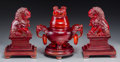Asian:Chinese, A Chinese Cast Resin Tripod Censer and Stand with a Pair of Foo Lions on Stands. 9 h x 8-3/8 w x 5 d inches (22.9 x 21.3 x 1... (Total: 3 Items)